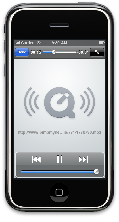 Audio player launched from a UIWebView