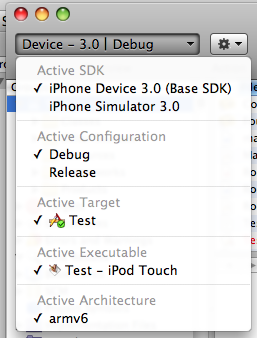 Xcode 3.1.3 Default List of Active iPhone SDKs