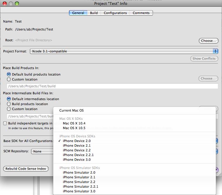 Xcode 3.1.3 Select Active iPhone SDK