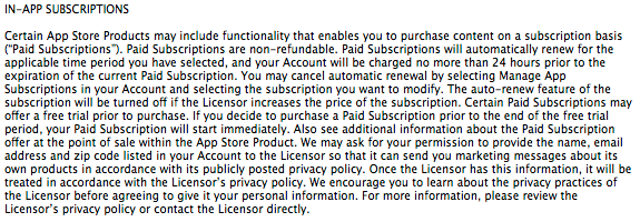 In App Subscriptions Terms of Service